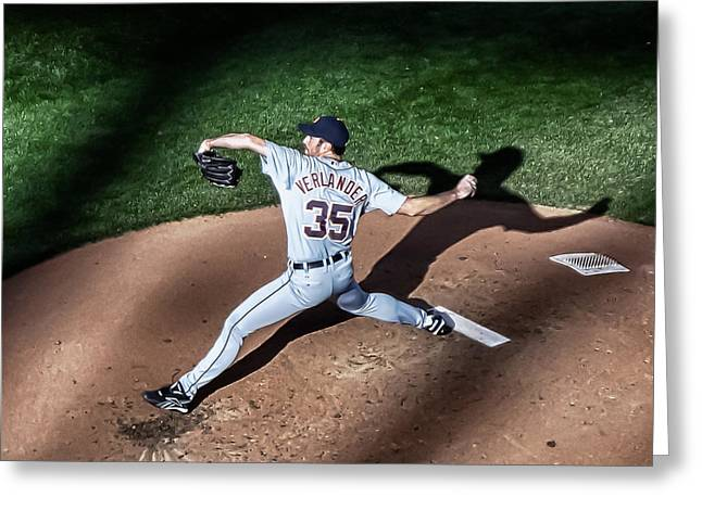 Pitching Through Shadows Greeting Card by Tom Gort