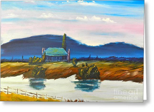 Greeting Card featuring the painting Pittown by Pamela  Meredith