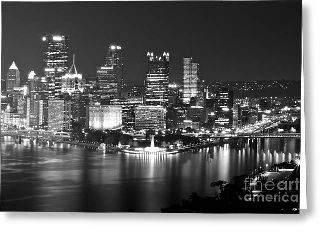 Pittsburgh - Black And White Greeting Card