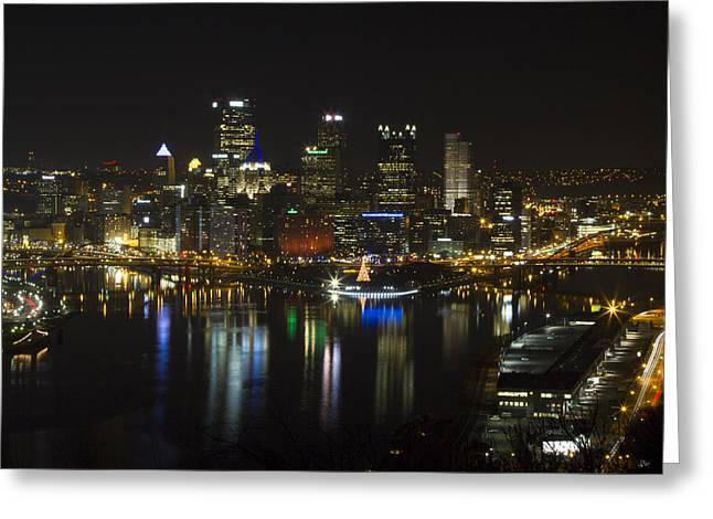 Pittsburgh At Christmas Greeting Card by Nathan Ealy