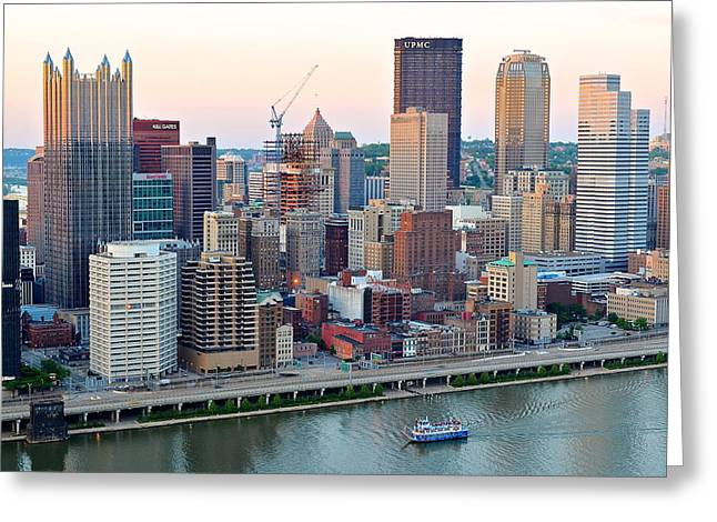 Pittsburgh At Dusk Greeting Card by Frozen in Time Fine Art Photography