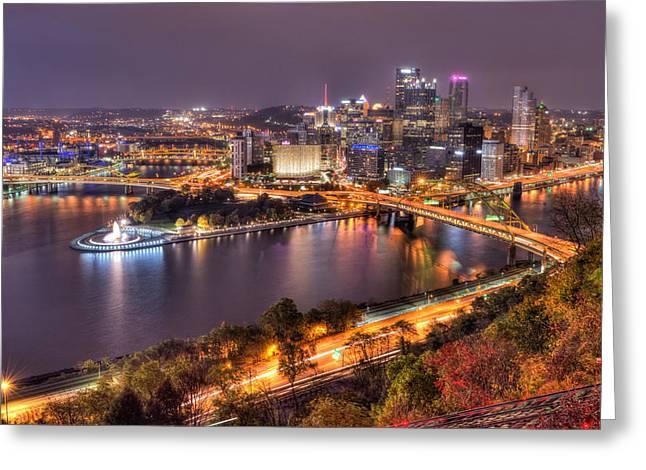 Pittsburgh At Night  Greeting Card by Shane Mossman