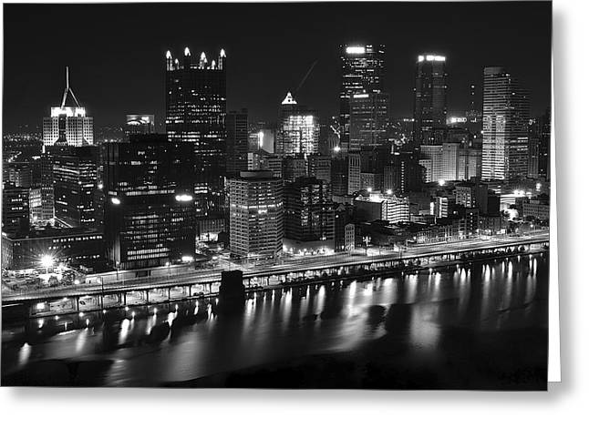 Pittsburgh Black And White Night Greeting Card by Frozen in Time Fine Art Photography