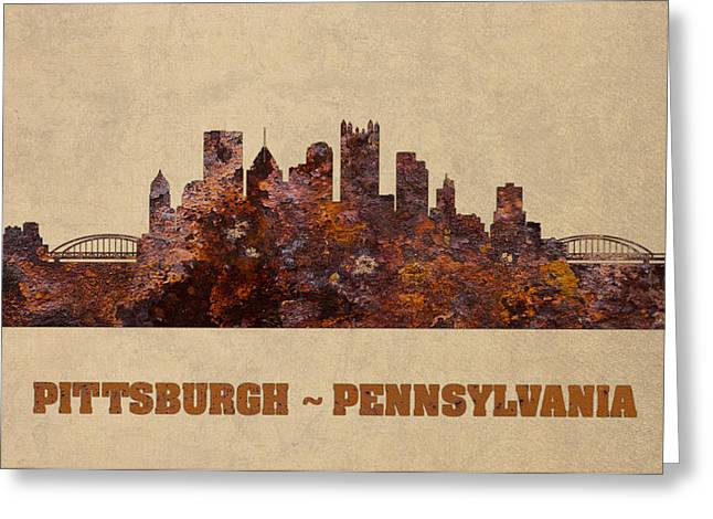 Pittsburgh City Skyline Rusty Metal Shape On Canvas Greeting Card by Design Turnpike