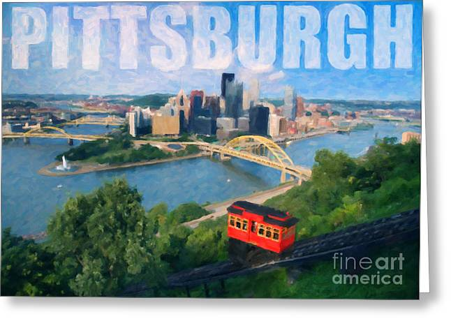 Pittsburgh Digital Painting Greeting Card by Sharon Dominick