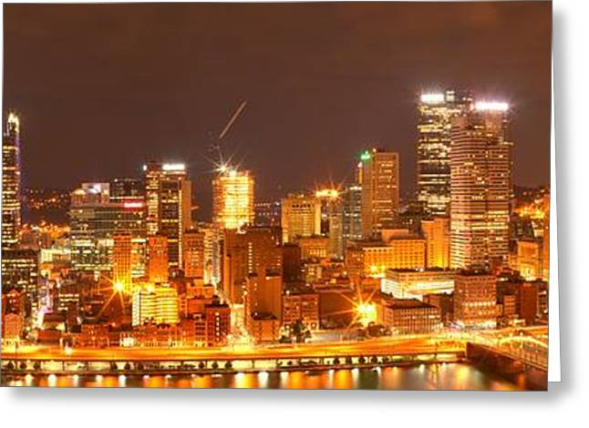 Pittsburgh Evening Cityscape Greeting Card by Adam Jewell