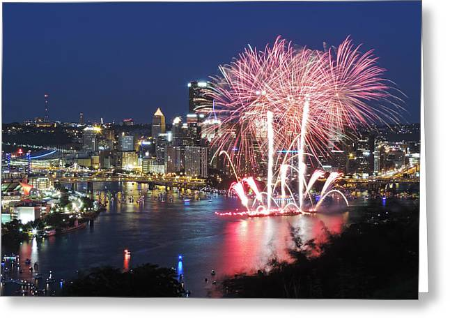 Pittsburgh Fireworks Greeting Card by Cityscape Photography
