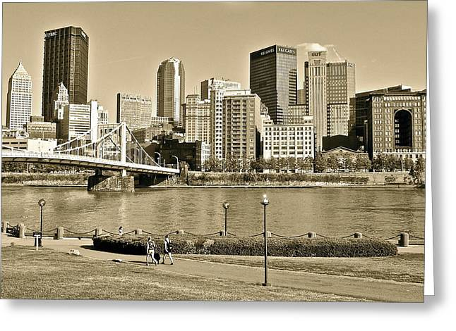 Pittsburgh In Sepia Greeting Card by Frozen in Time Fine Art Photography