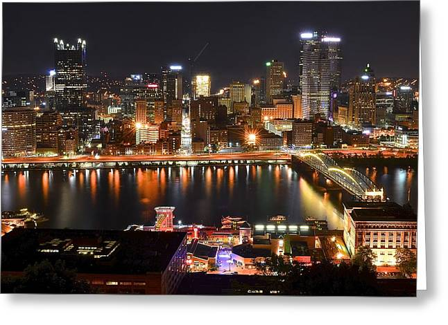 Pittsburgh Over The Monongahela Greeting Card by Frozen in Time Fine Art Photography