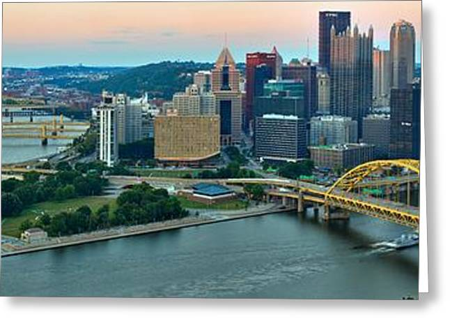Pittsburgh Panorama At Dusk Greeting Card