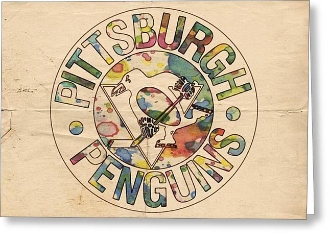 Pittsburgh Penguins Retro Poster Greeting Card