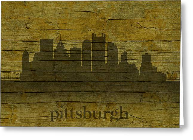 Pittsburgh Pennsylvania City Skyline Silhouette Distressed On Worn Peeling Wood Greeting Card by Design Turnpike