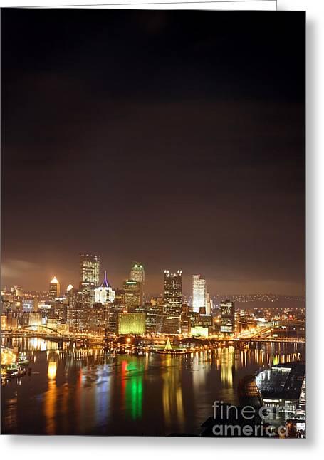 Pittsburgh Pennsylvania Night Portrait Greeting Card