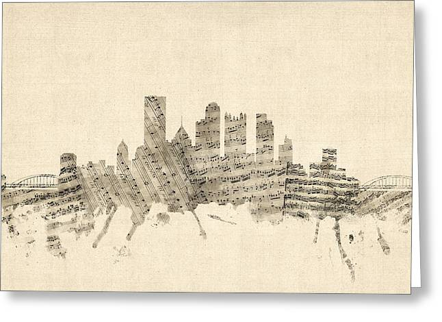 Pittsburgh Pennsylvania Skyline Sheet Music Cityscape Greeting Card by Michael Tompsett