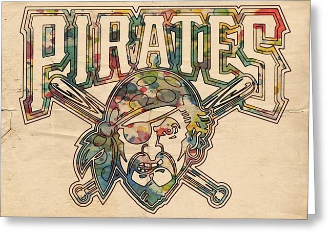 Pittsburgh Pirates Poster Vintage Greeting Card by Florian Rodarte