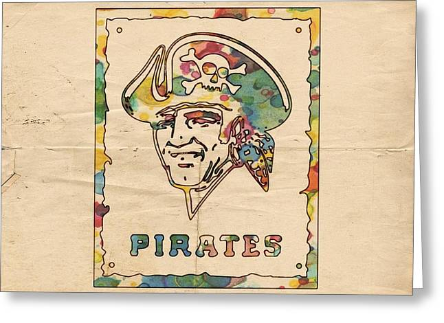 Pittsburgh Pirates Vintage Art Greeting Card by Florian Rodarte