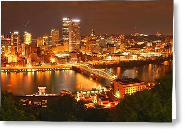 Pittsburgh Reflections In The Mon Greeting Card by Adam Jewell