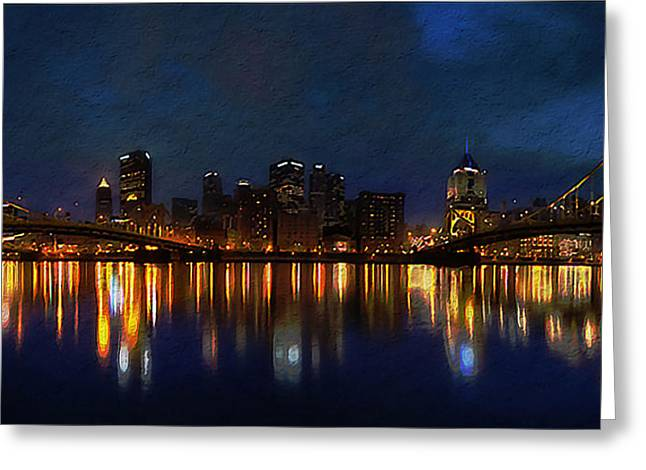 Pittsburgh Skyline 2 Greeting Card by  Fli Art