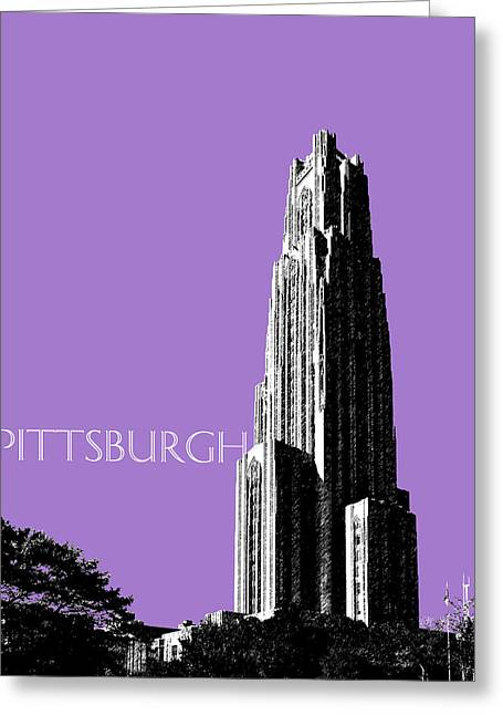 Pittsburgh Skyline Cathedral Of Learning - Violet Greeting Card by DB Artist