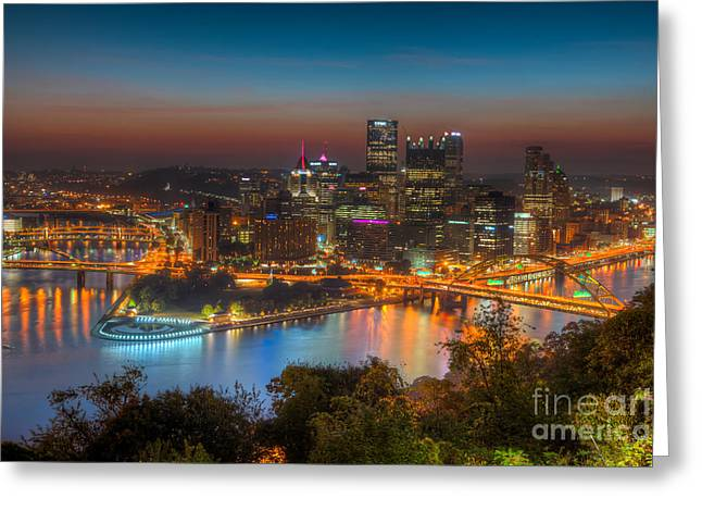 Pittsburgh Skyline Morning Twilight I Greeting Card by Clarence Holmes