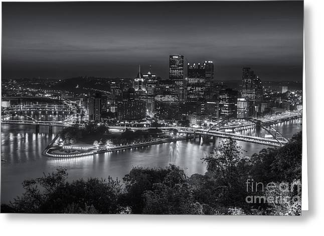 Pittsburgh Skyline Morning Twilight II Greeting Card by Clarence Holmes
