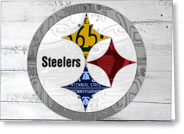 Pittsburgh Steelers Football Team Retro Logo Pennsylvania License Plate Art Greeting Card by Design Turnpike