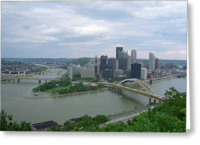 Pittsburgh - View Of The Three Rivers Greeting Card by Frank Romeo
