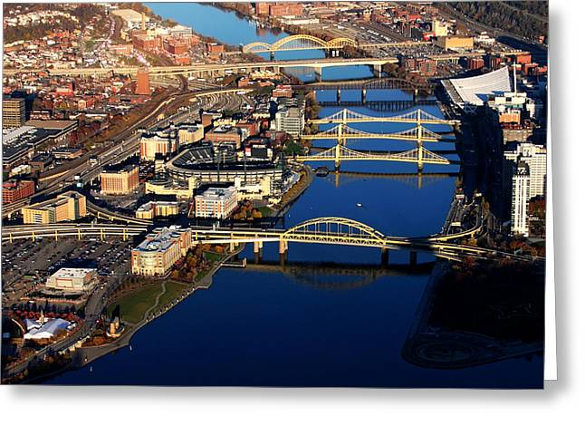 Pittsburgh's North Shore Aerial Greeting Card by Pittsburgh Aerials