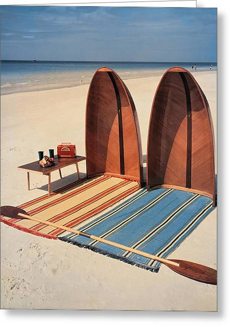 Pixie Collapsible Boat On The Beach Greeting Card