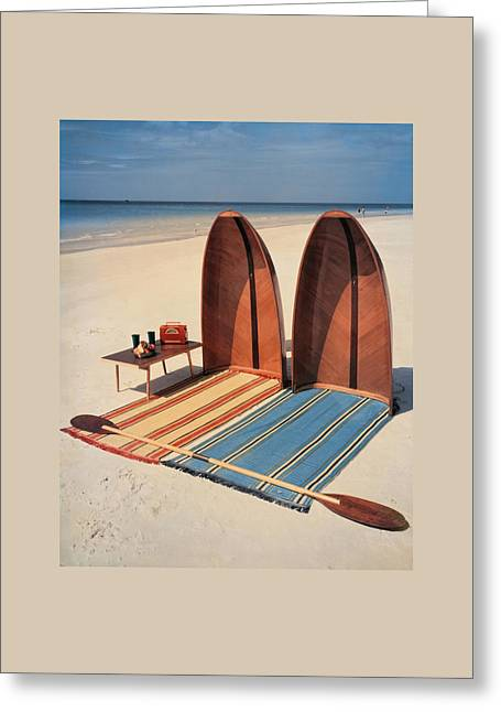 Pixie Collapsible Boat On The Beach Greeting Card by Lois and Joe Steinmetz