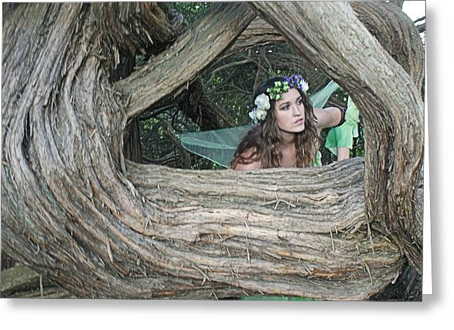 Pixie Looking Through Tree Greeting Card