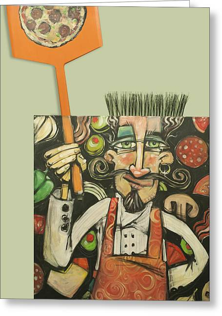 Pizza Chef Quickfire Greeting Card by Tim Nyberg