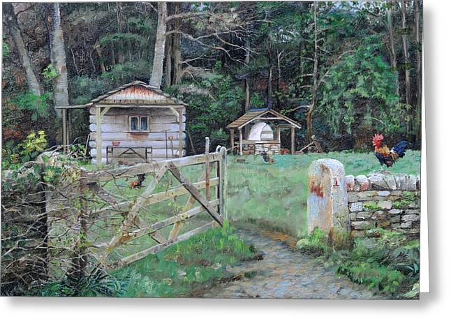Pizza Hut, Beeley, Derbyshire, 2004 Oil On Canvas Greeting Card by Trevor Neal