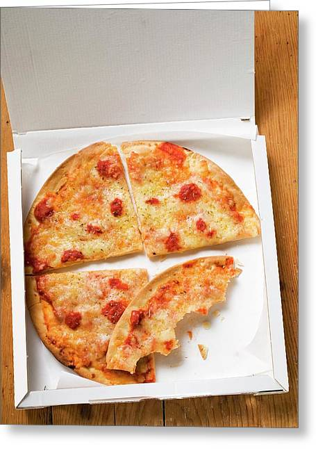 Pizza Margherita, In Slices In Pizza Box Greeting Card