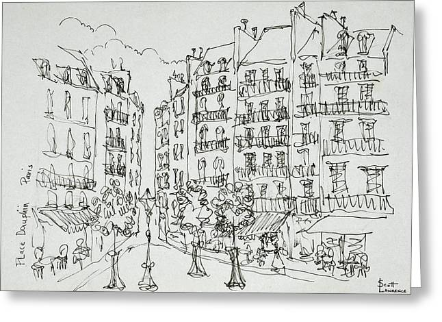 Place Dauphine, Ile De La Cite, Paris Greeting Card