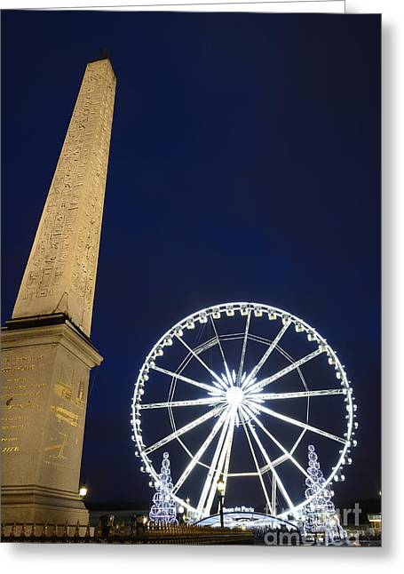 Place De La Concorde And The Ferris Wheel At Christmas Time Greeting Card by Sami Sarkis