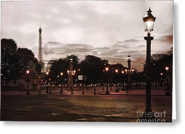 Paris Place De La Concorde Sepia Art - Paris Eiffel Tower View Place De La Concorde Street Lamps  Greeting Card