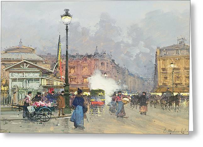 Place De L'opera Paris Greeting Card by Eugene Galien-Laloue