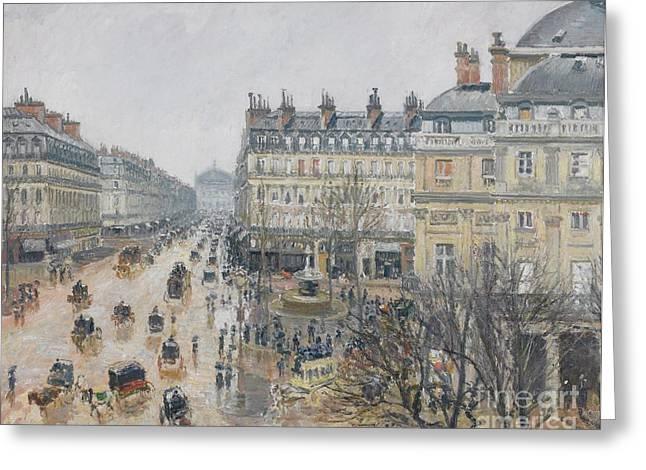 Place Du Theatre Francais    Paris  Rain Greeting Card by Camille Pissarro