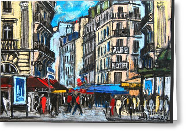 Place Saint-michel In Paris Greeting Card