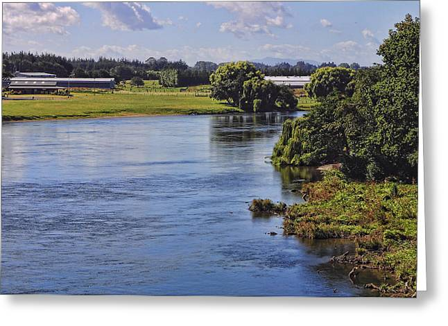 Placid Wide River Greeting Card by Linda Phelps
