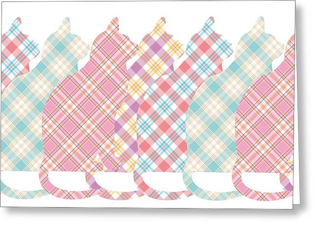Plaid Cats Greeting Card by Peggy Collins