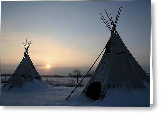 Greeting Card featuring the photograph Plains Cree Tipi by Larry Trupp