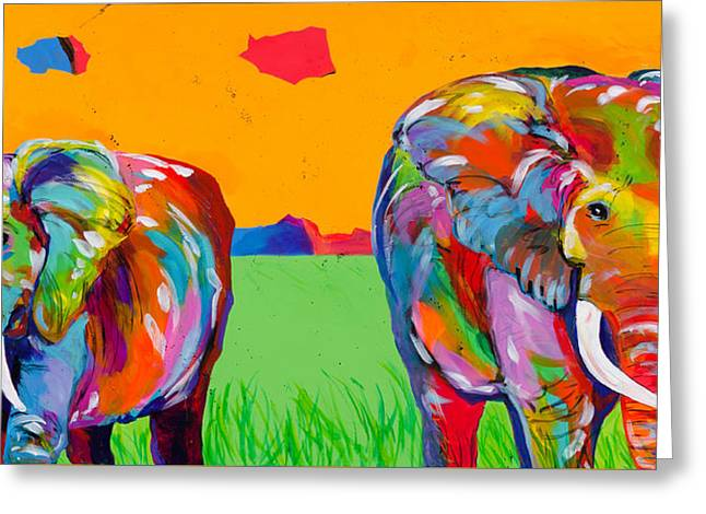 Plains Elephants Greeting Card by Tracy Miller