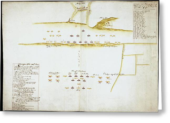Plan Of Battle Of Naseby Greeting Card by British Library