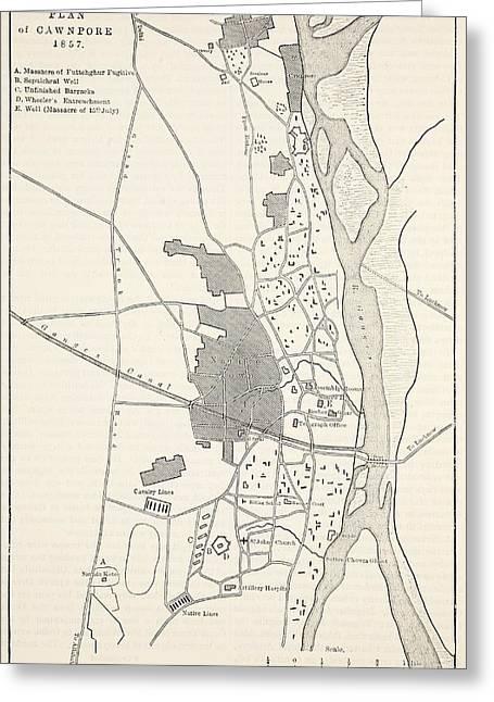 Plan Of Cawnpore, 1857 Greeting Card