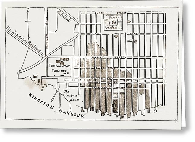 Plan Of Kingston, Jamaica Greeting Card by Litz Collection