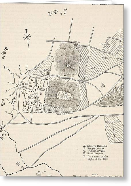 Plan Of The Defence Of Seetabuldee Hill Greeting Card by English School