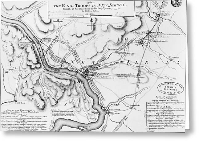 Plan Of The Operations Of General Washington Against The Kings Troops In New Jersey Greeting Card by William Faden