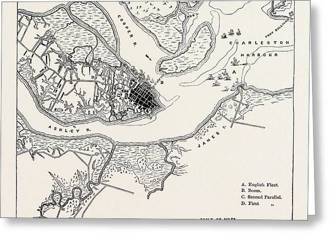 Plan Of The Siege Of Charleston, United States Of America Greeting Card